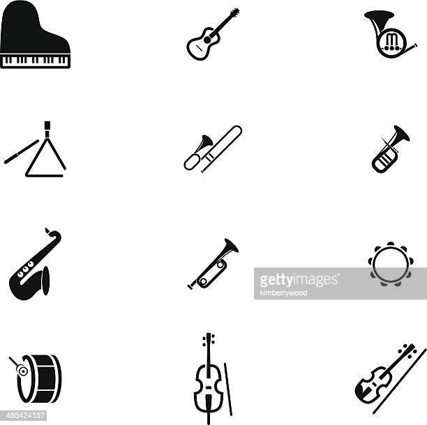 classic music instrument icon set - violin stock illustrations, clip art, cartoons, & icons