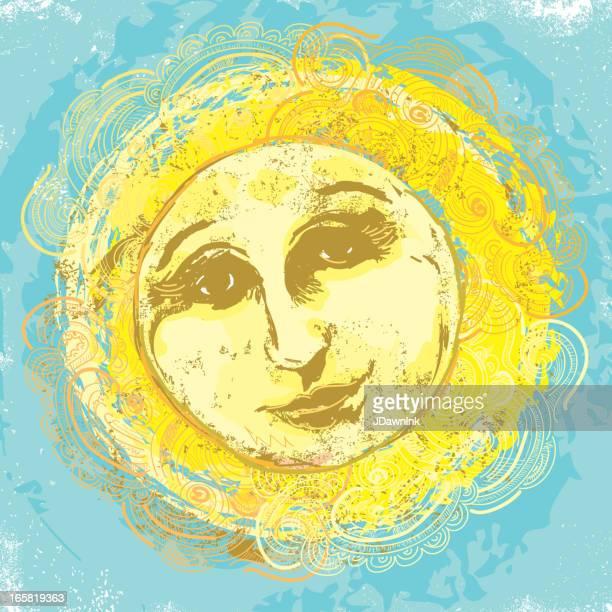 ilustraciones, imágenes clip art, dibujos animados e iconos de stock de clásico old fashioned sol diseño de cara - sol en la cara