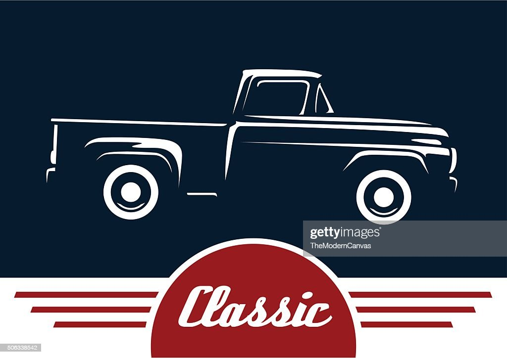 Classic pickup truck motor vehicle silhouette design