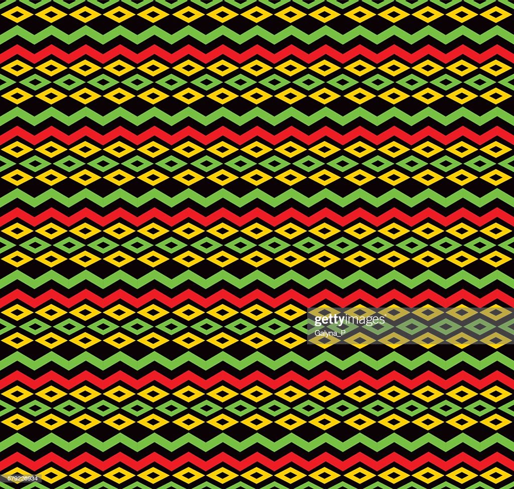 classic reggae color music background. Jamaica seamless pattern