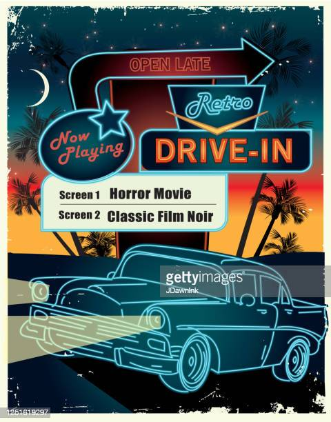 classic retro drive in poster design advertisement - jdawnink stock illustrations