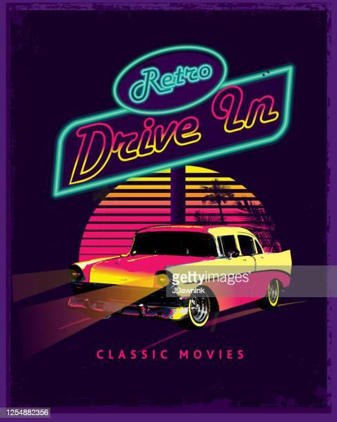 ポスターデザイン広告のクラシックレトロドライブ - 映画のポスター点のイラスト素材/クリップアート素材/マンガ素材/アイコン素材