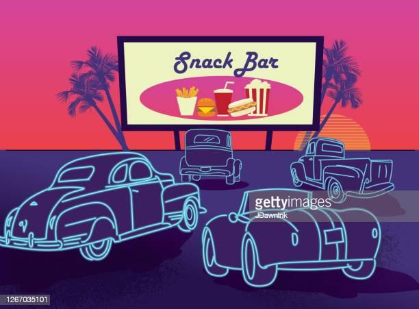 stockillustraties, clipart, cartoons en iconen met klassieke retro drive in poster design advertentie - filmscreening
