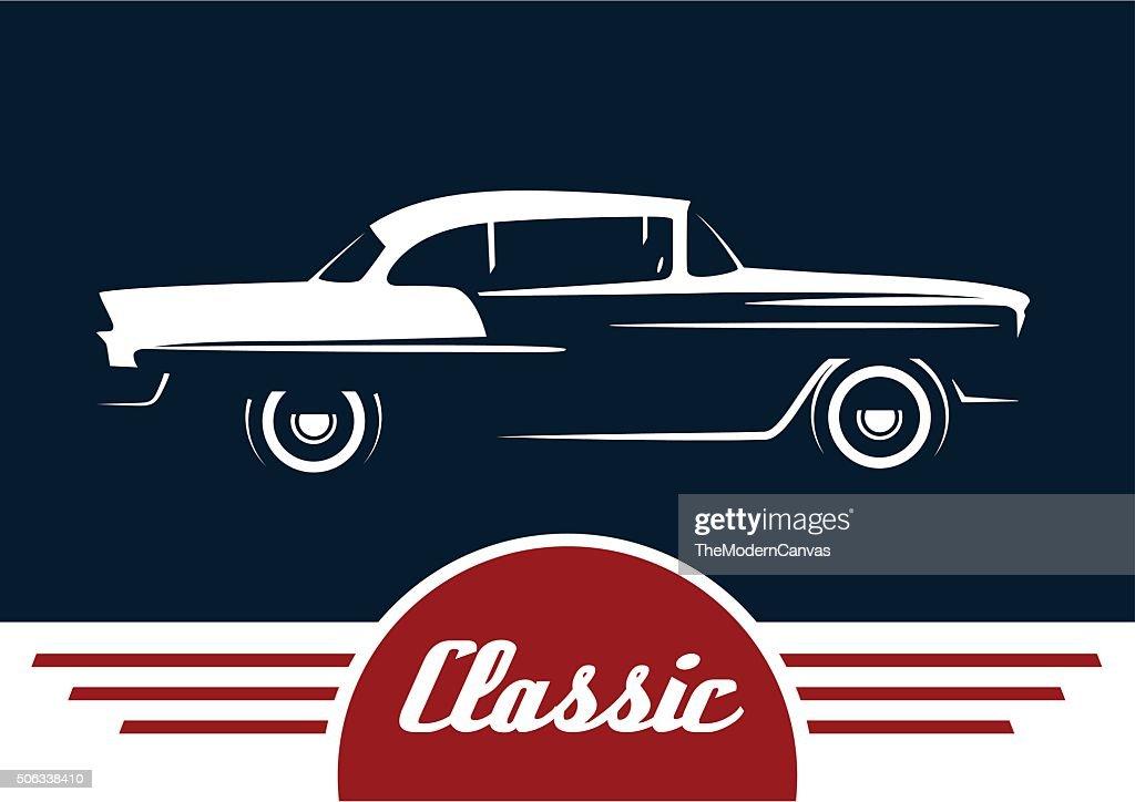 Classic retro style car motor vehicle silhouette design
