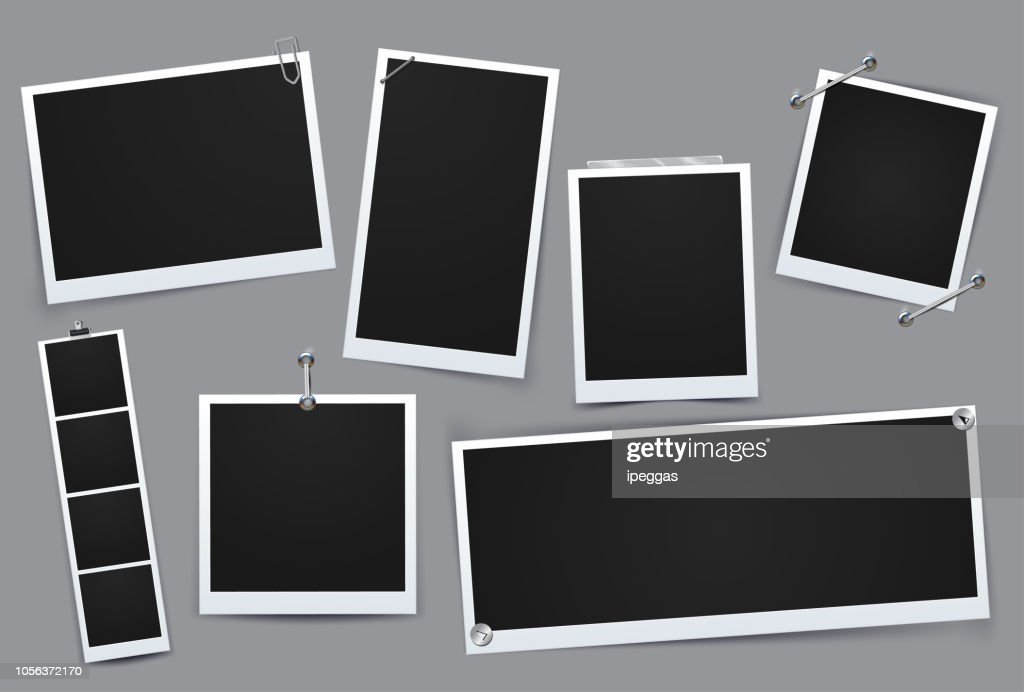 Classic retro style. Collection of vector template photo frame, Isolated on gray background. design for your photography and picture. Vector Illustration