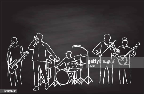 ilustraciones, imágenes clip art, dibujos animados e iconos de stock de classic rock band chalk - bajo eléctrico