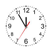 Classic round wall clock isolated on white. Empty dial. Vector illustration