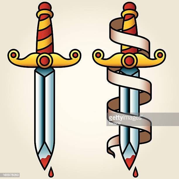 classic sailor-tattoo styled dagger and banner - dagger stock illustrations