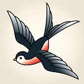 Classic Sailor-Tattoo Styled Swallow