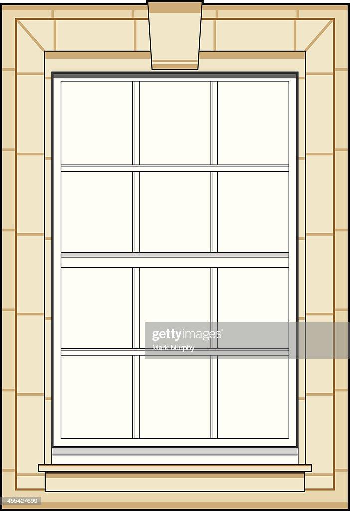 Gentil Classic Sash Window : Vector Art