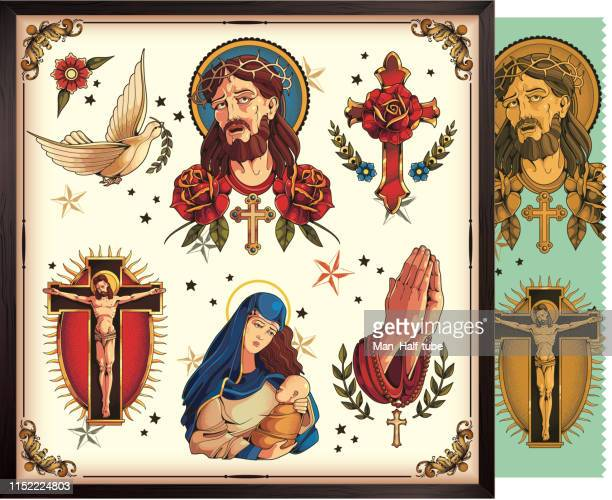 classic symbols of christianity - crucifix stock illustrations