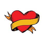 Classic tattoo vector heart and ribbon