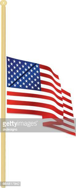 classic usa flag at half staff waving in the wind, with gold flagpole - half mast stock illustrations