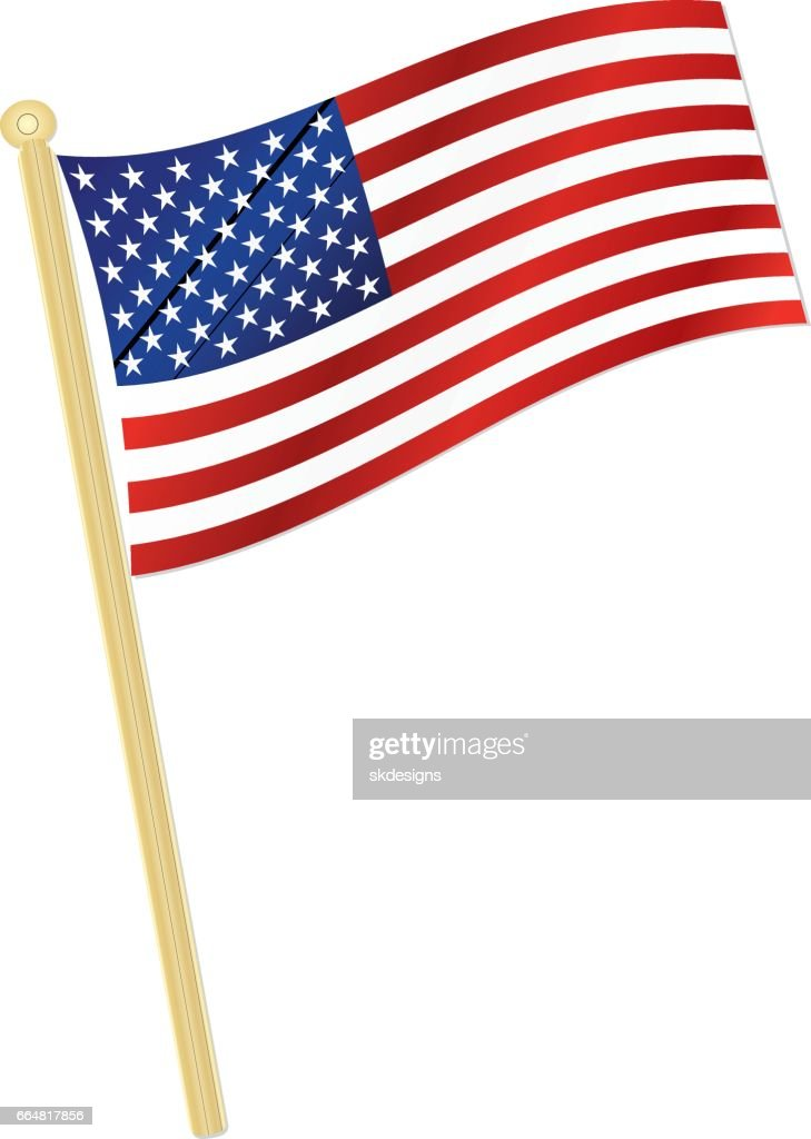 Classic Usa Flag Waving In The Wind With Gold Flagpole stock
