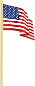 Classic USA Flag Waving in the Wind, with Gold Flagpole