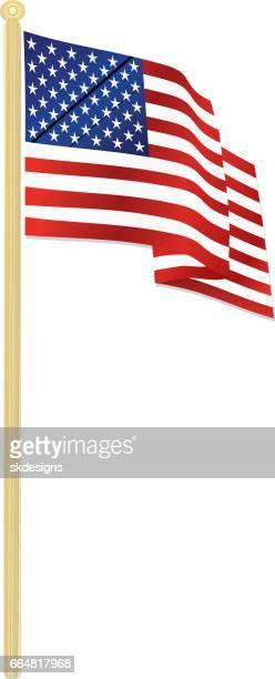 古典的なアメリカの国旗、金の旗を風になびかせて - 旗棒点のイラスト素材/クリップアート素材/マンガ素材/アイコン素材