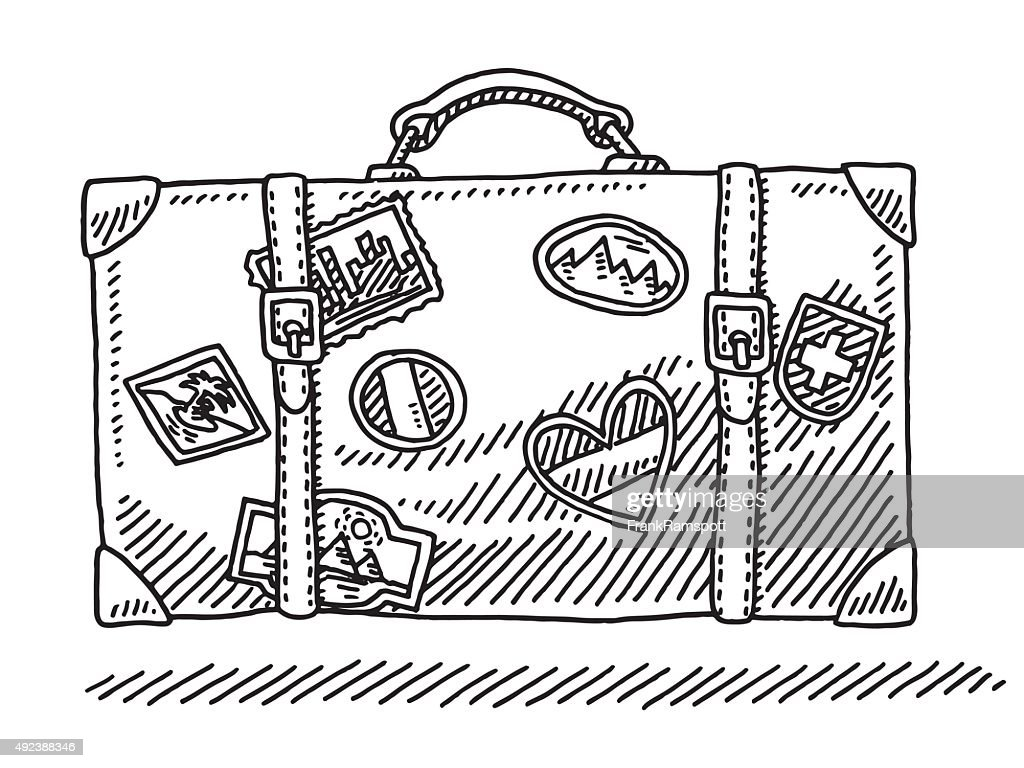 Classic Vacation Suitcase With Travel Stickers Drawing : stock illustration