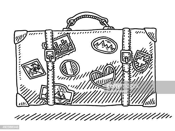 Classic Vacation Suitcase With Travel Stickers Drawing