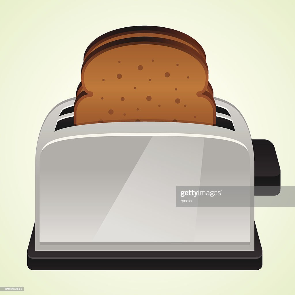 Classic vector pop-up toaster with bread : stock illustration