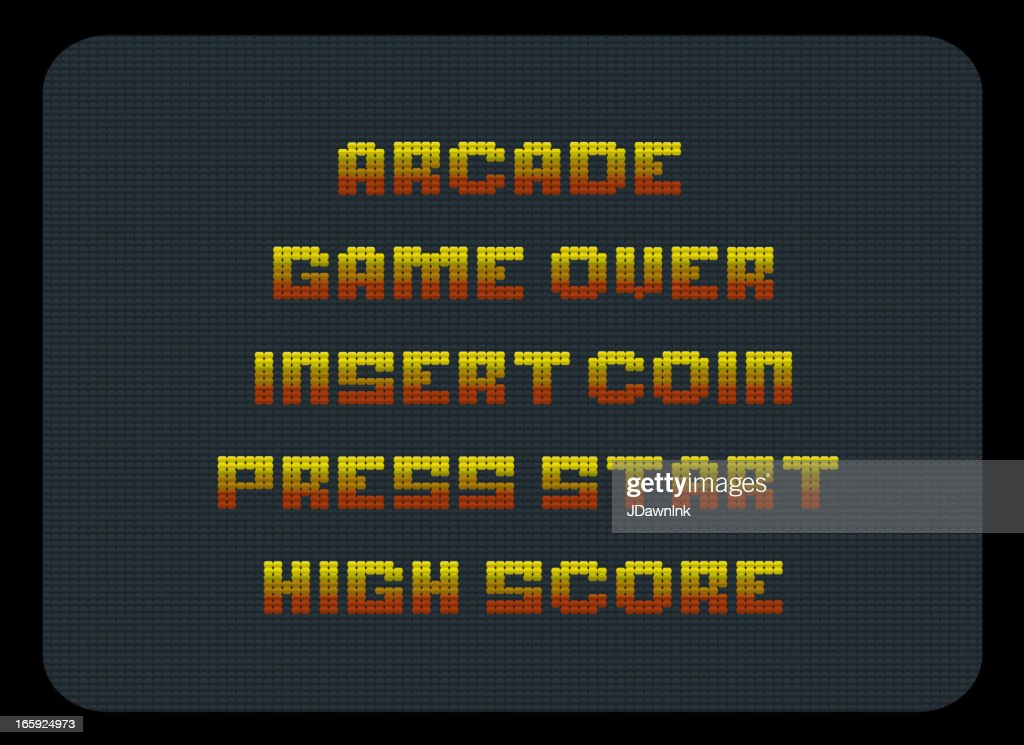 Classic video arcade screen words : Stock Illustration