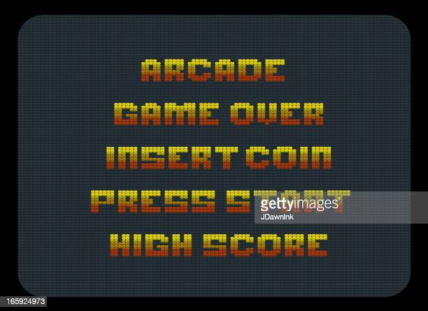 Classic video arcade screen words