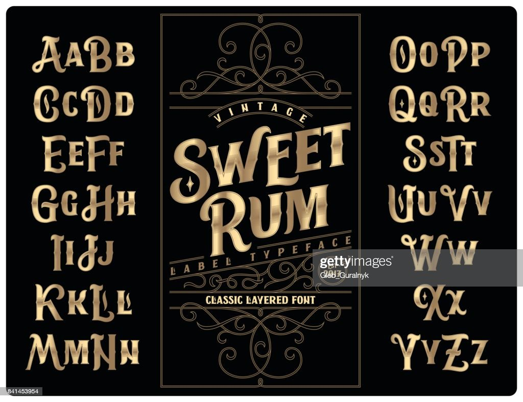 Classic vintage decorative font set named 'Sweet Rum' with label design template