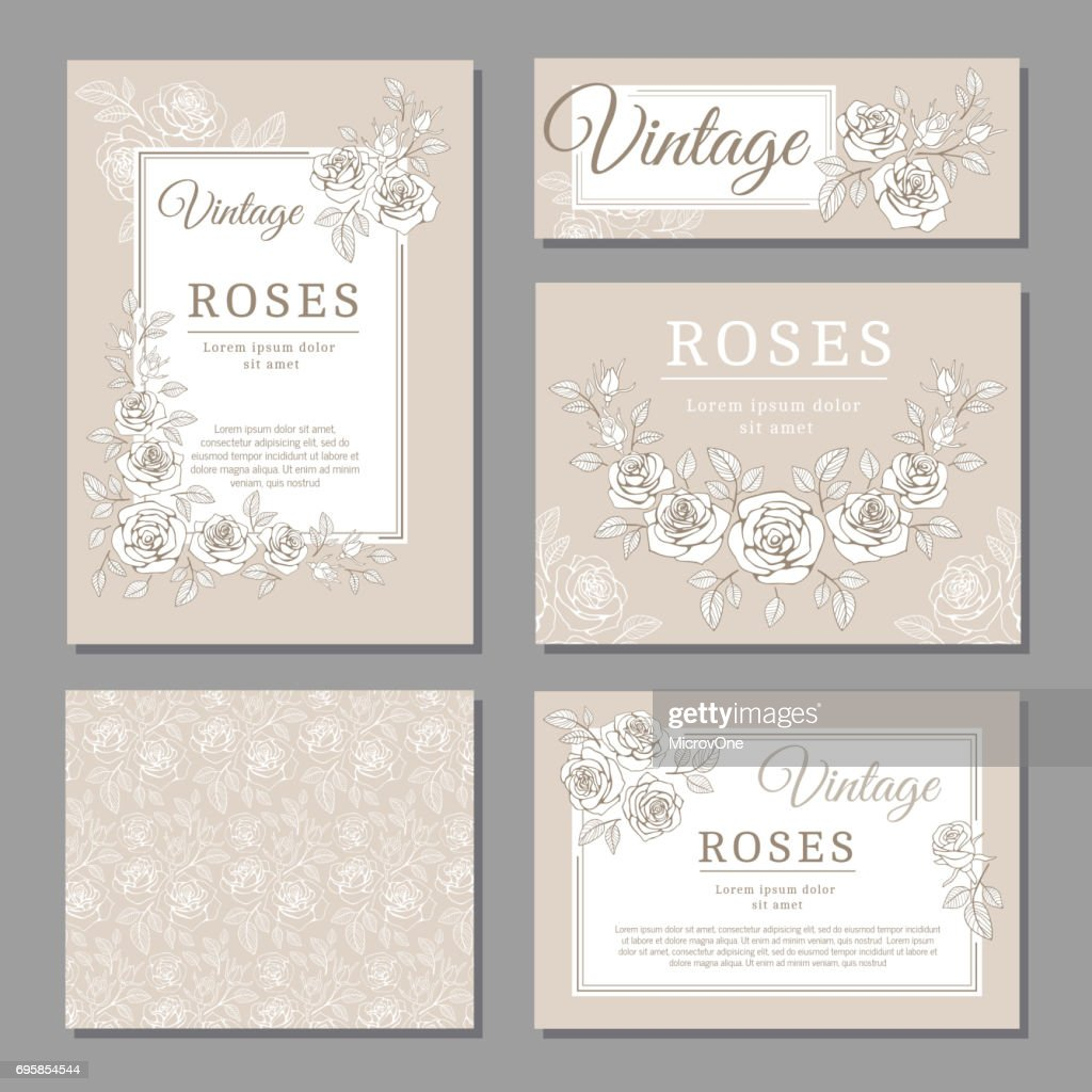 Classic wedding vintage invitation cards with roses and floral elements vector templates