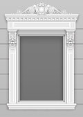 Classic white architectural window facade frame