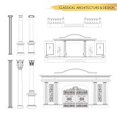 Classical architectural form drawings in set. Vector drawing design elements