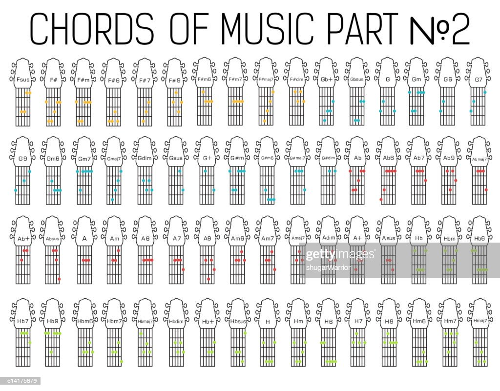 Classical Basic Guitar Chords Graphic Of Music Set Part Two Vector