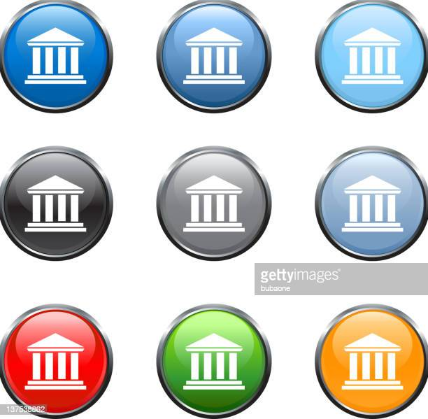 classical building royalty free vector art in nine colors - pediment stock illustrations, clip art, cartoons, & icons