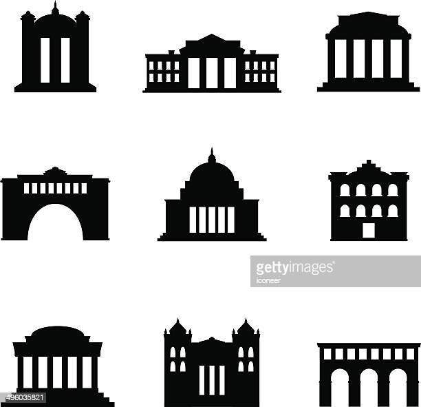 classical buildings - corridor stock illustrations, clip art, cartoons, & icons