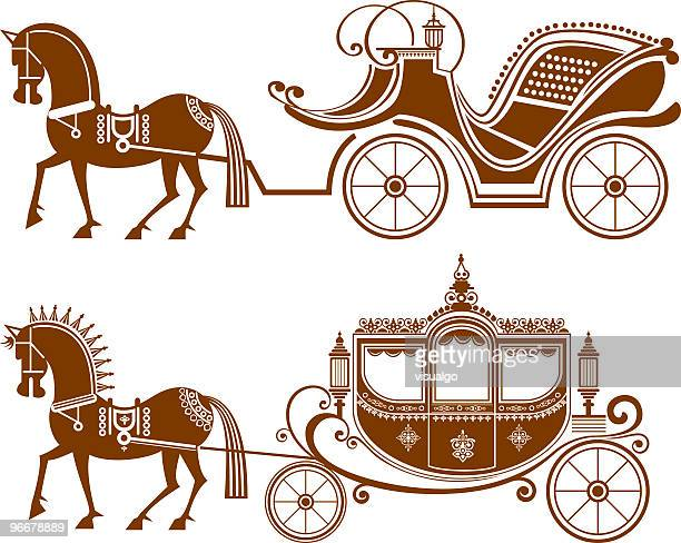 classical carriage - horsedrawn stock illustrations, clip art, cartoons, & icons