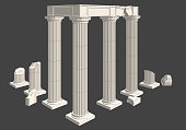 classical columns of a temple in ruins