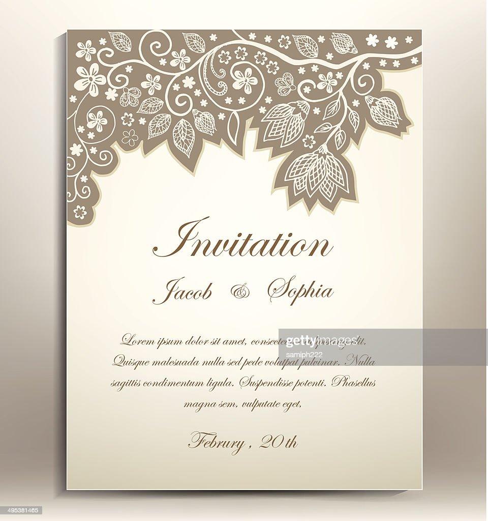 classical floral hand draw wedding invitation