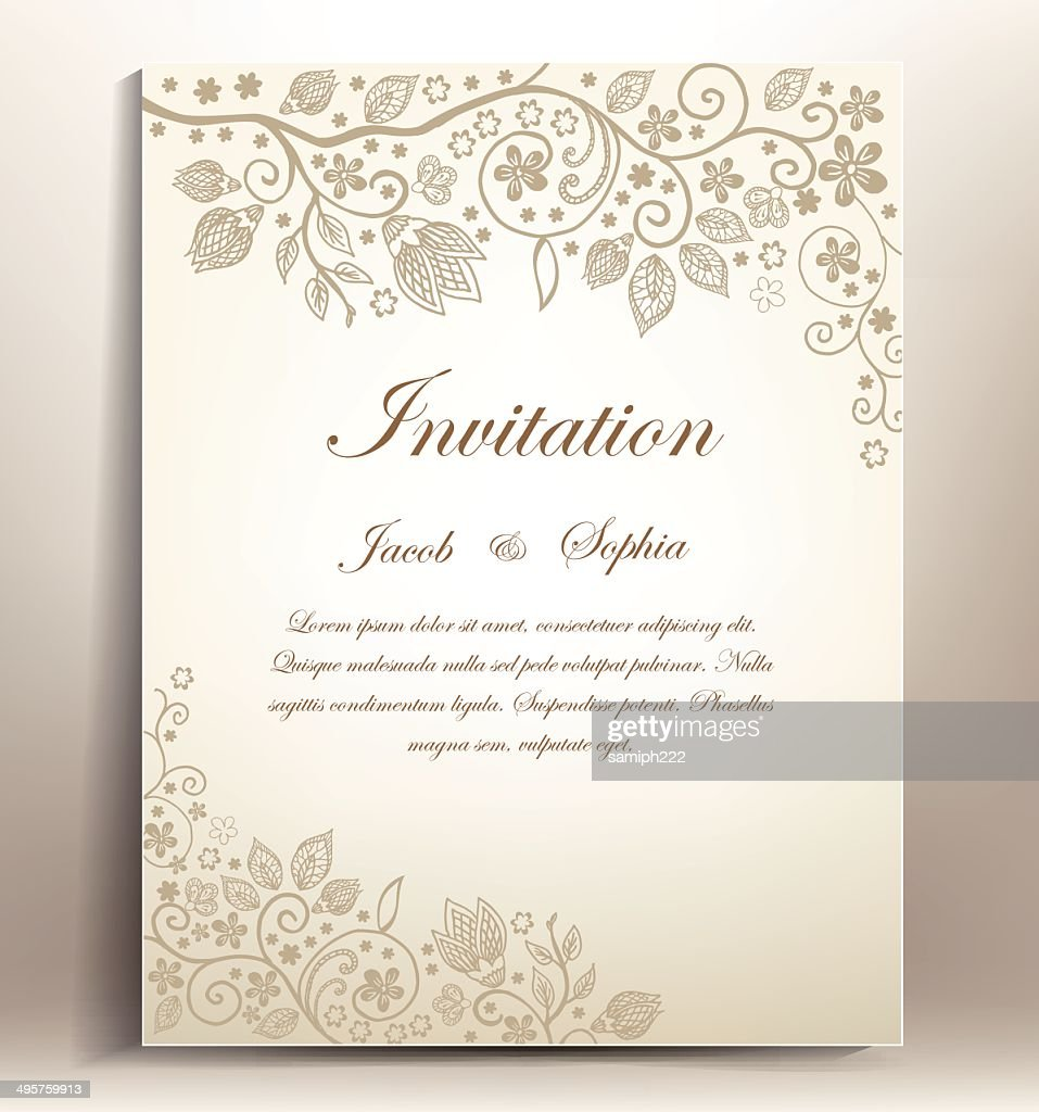 classical floral hand draw wedding invitation,