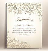 classical floral hand draw wedding invitation,
