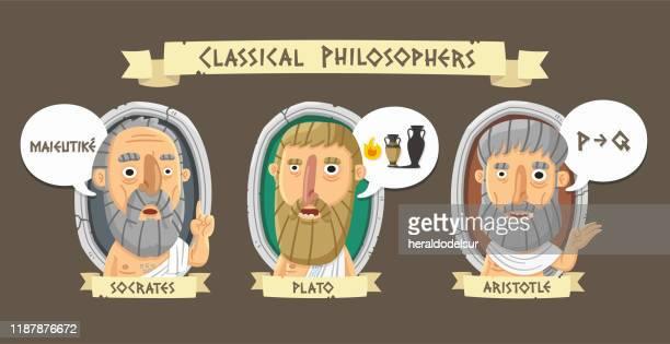 ilustrações, clipart, desenhos animados e ícones de filósofos gregos clássicos - filósofo