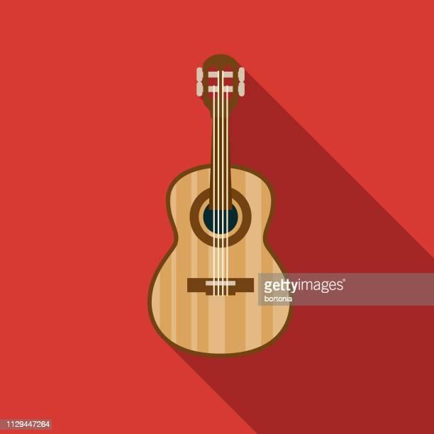 ilustrações, clipart, desenhos animados e ícones de ícone de instrumento musical de guitarra clássica - violão