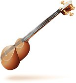 Classical Iranian tar (lute), isolated on white background