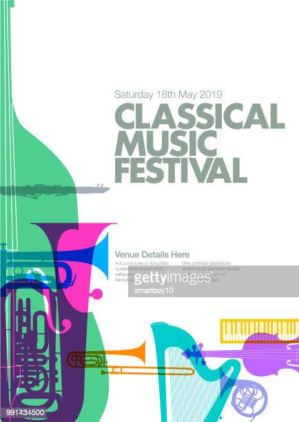 classical music poster - orchestra stock illustrations