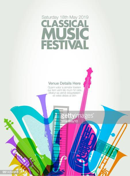 classical music poster - bass instrument stock illustrations, clip art, cartoons, & icons