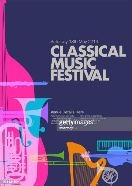 classical music poster - classical stock illustrations