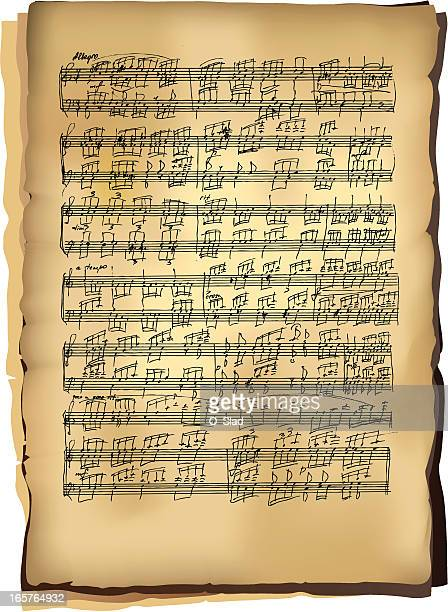 classical music sheets - sheet music stock illustrations, clip art, cartoons, & icons