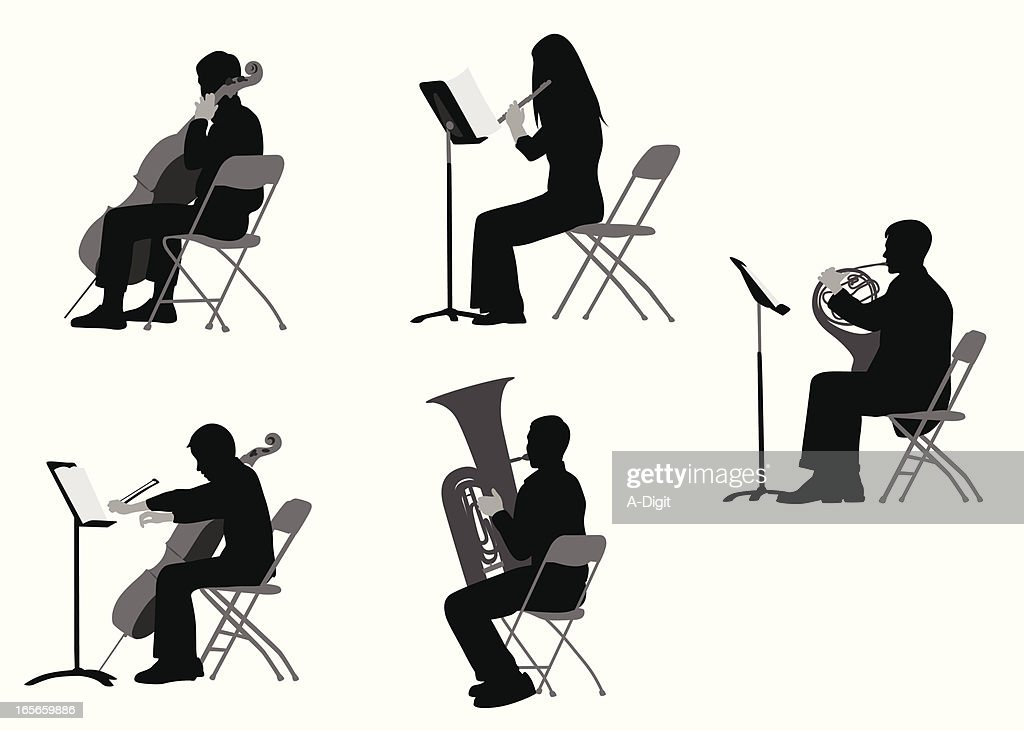 classical musicians vector silhouette vector art getty images