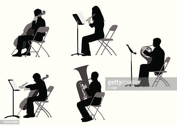 classical musicians vector silhouette - classical musician stock illustrations