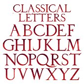Classical red watercolor letters.