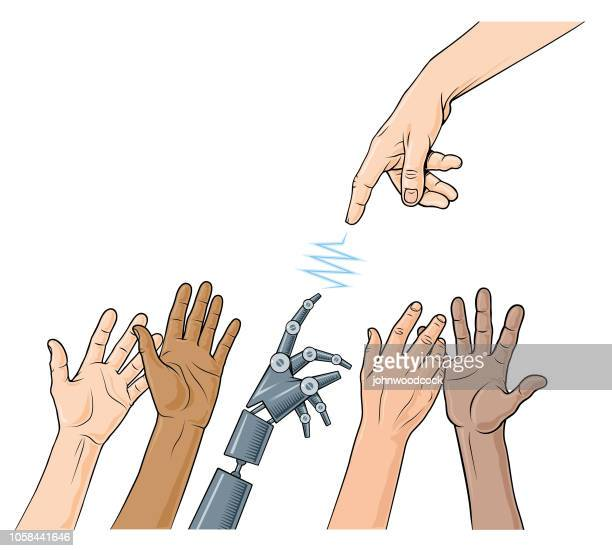 classical robot reaching hands - reaching stock illustrations