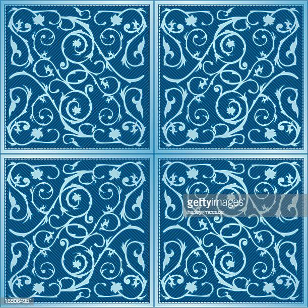 classical tiles - plant attribute stock illustrations, clip art, cartoons, & icons