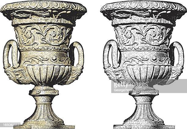 classical urn - clay stock illustrations
